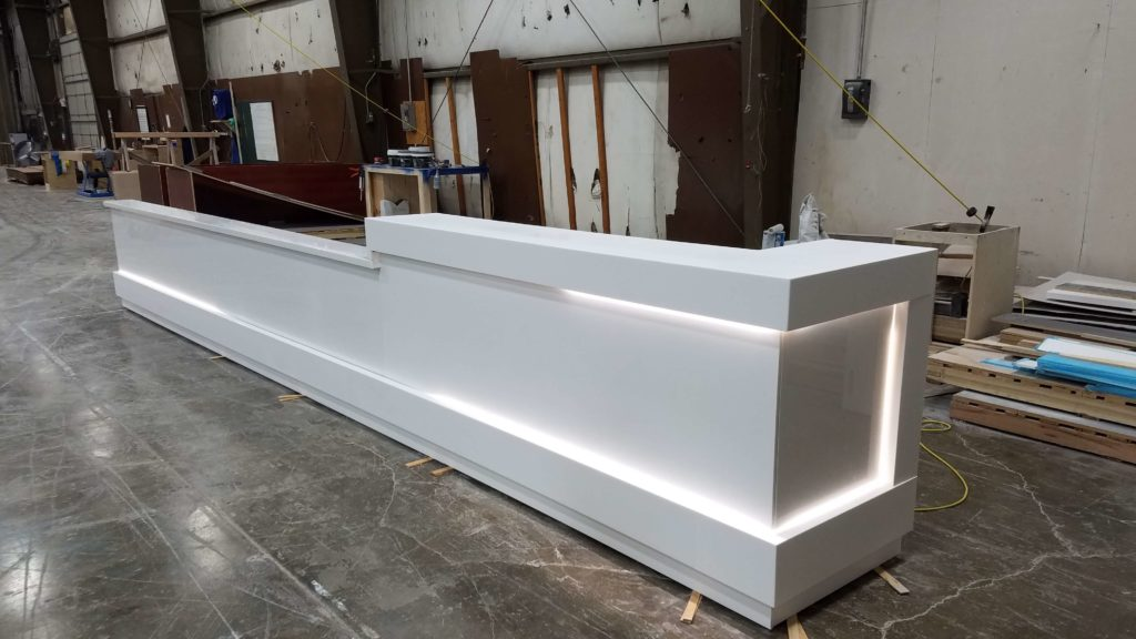Solid Surface Reception Desk with Integrated Lighting